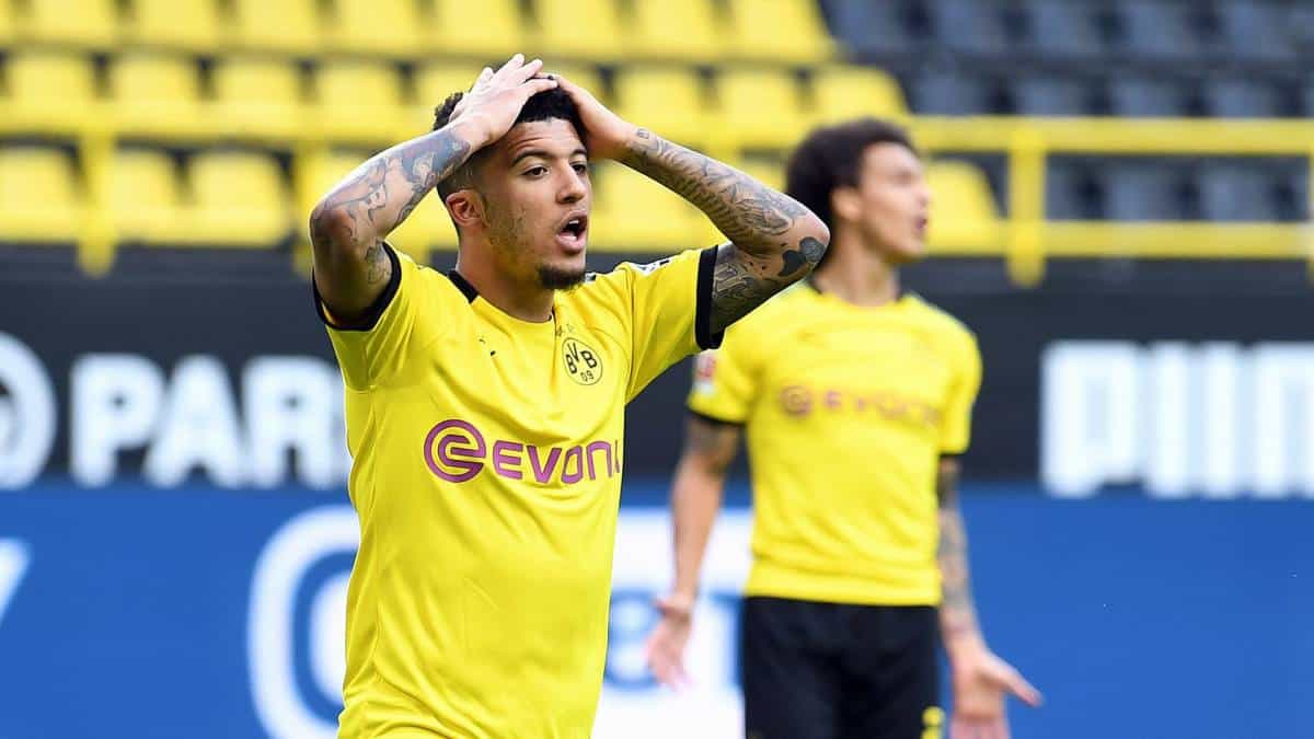 Jadon Sancho missed the goal for Borussia Dortmund