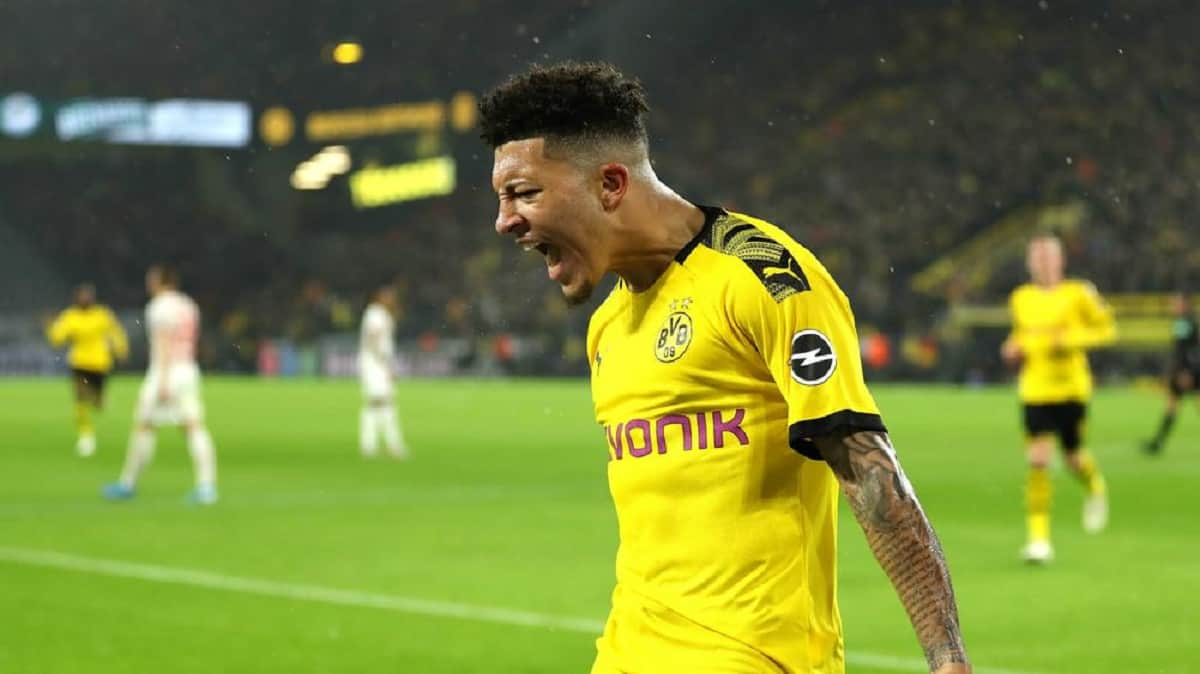 Jadon Sancho celebrating a goal for Borussia Dortmund