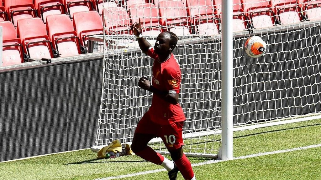 Sadio Mane celebrating a goal during Liverpool 11v11 friendly game at Anfield