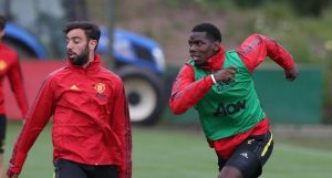 Paul Pogba and Bruno Fernandes during Manchester United training