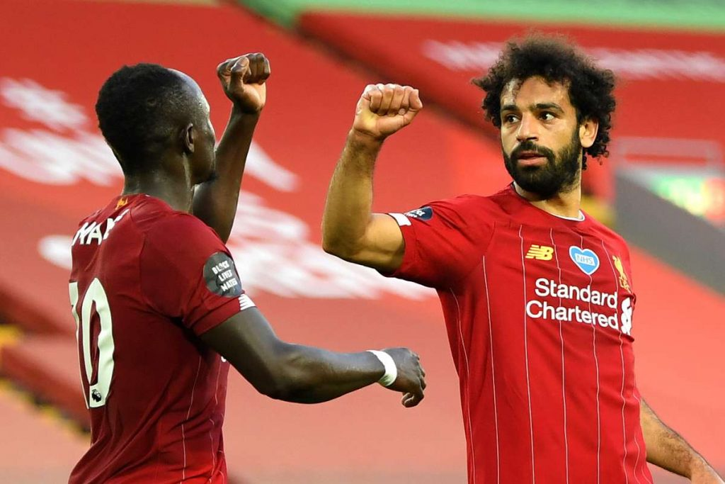 Sadio Mane and Mohamed Salah during Liverpool's 4-0 win over Crystal Palace