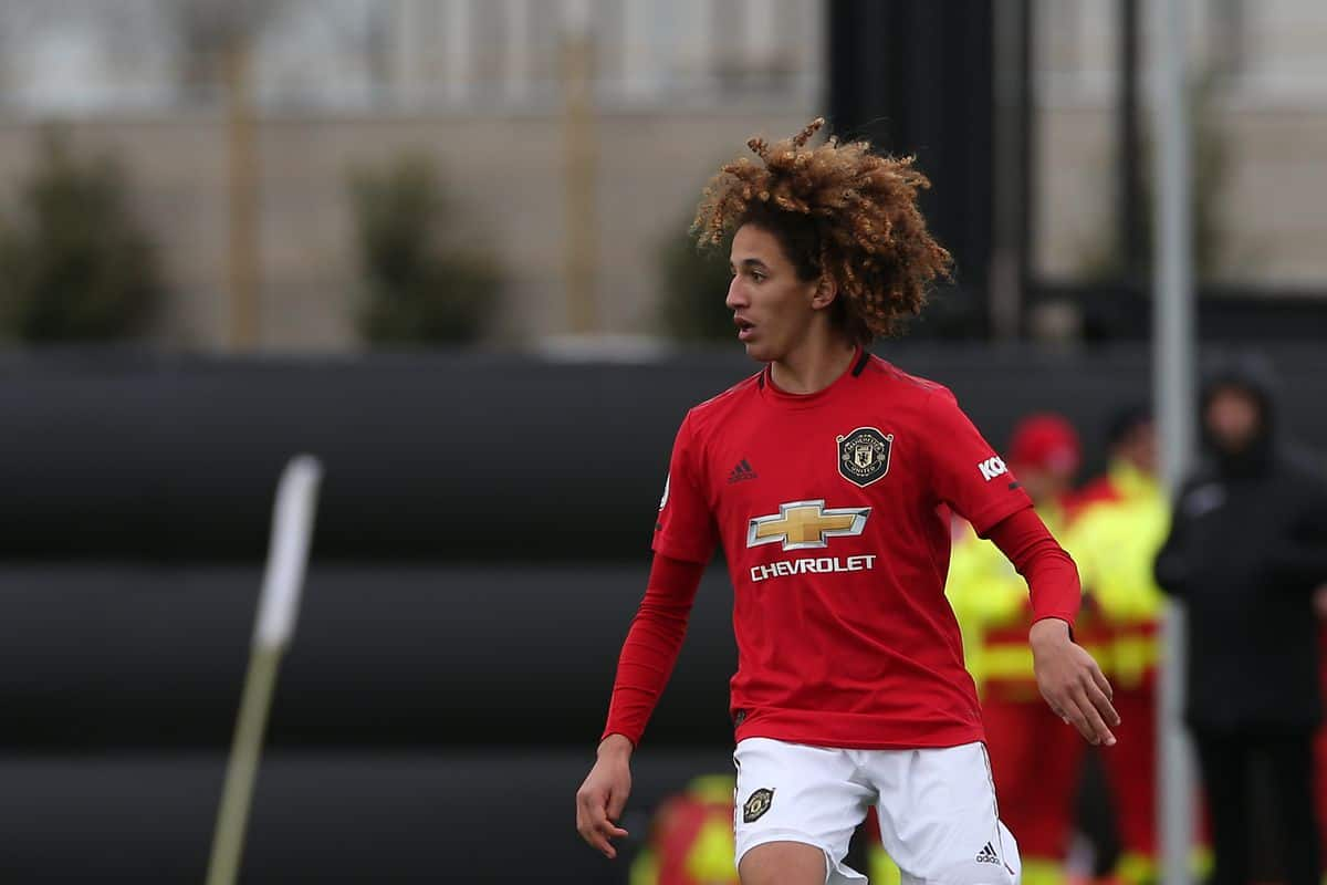 Hannibal Mejbri in action for Manchester United
