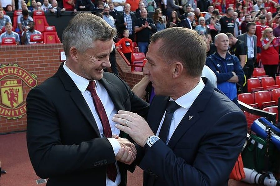 Manchester United boss Ole Gunnar Solskjaer and Leicester City boss Brendan Rodgers