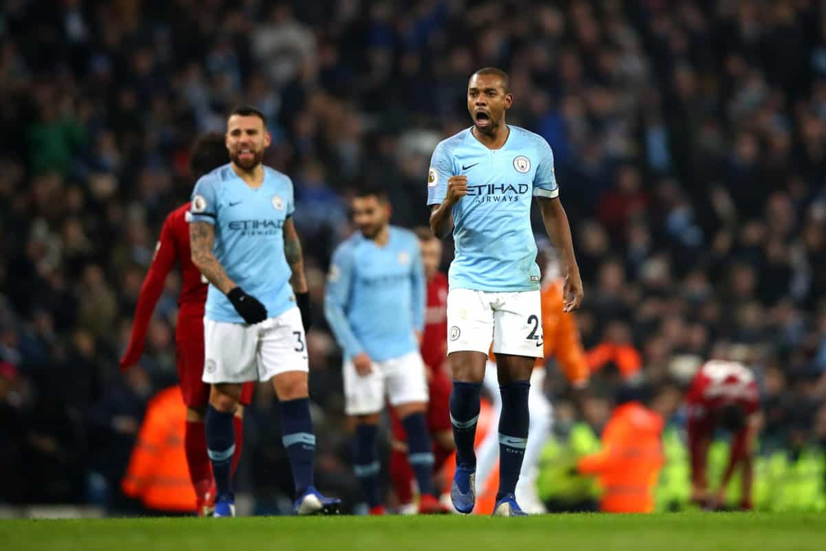Fernandinho in action for Manchester City