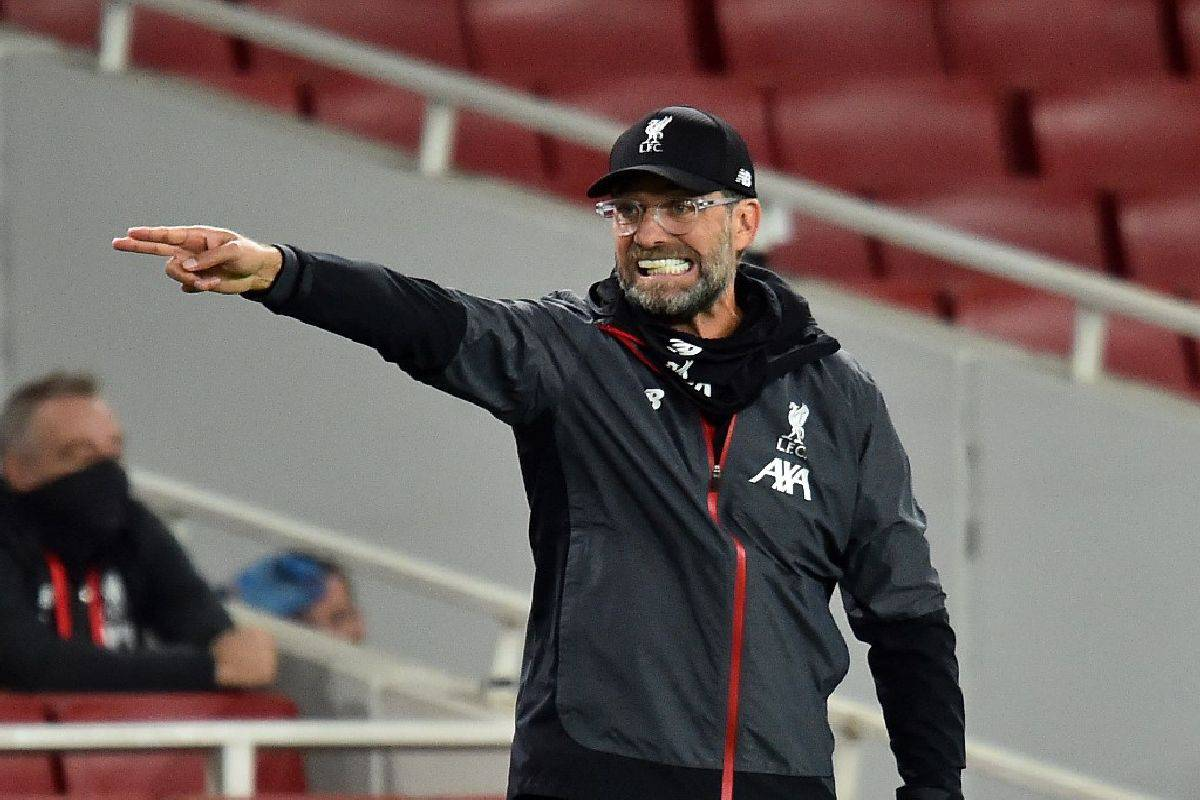 Liverpool's German manager Jurgen Klopp reacts on the sidelines during the English Premier League football match between Arsenal and Liverpool at the Emirates Stadium