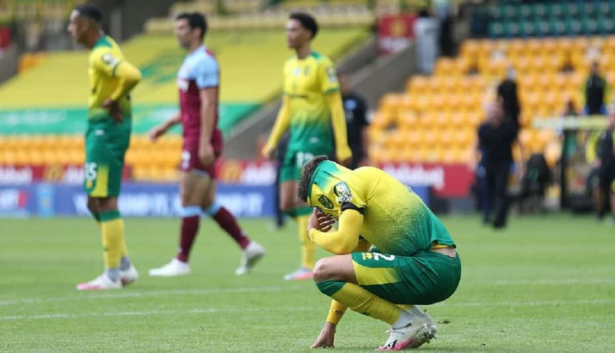 Norwich City get relegated after 4-0 defeat to West Ham