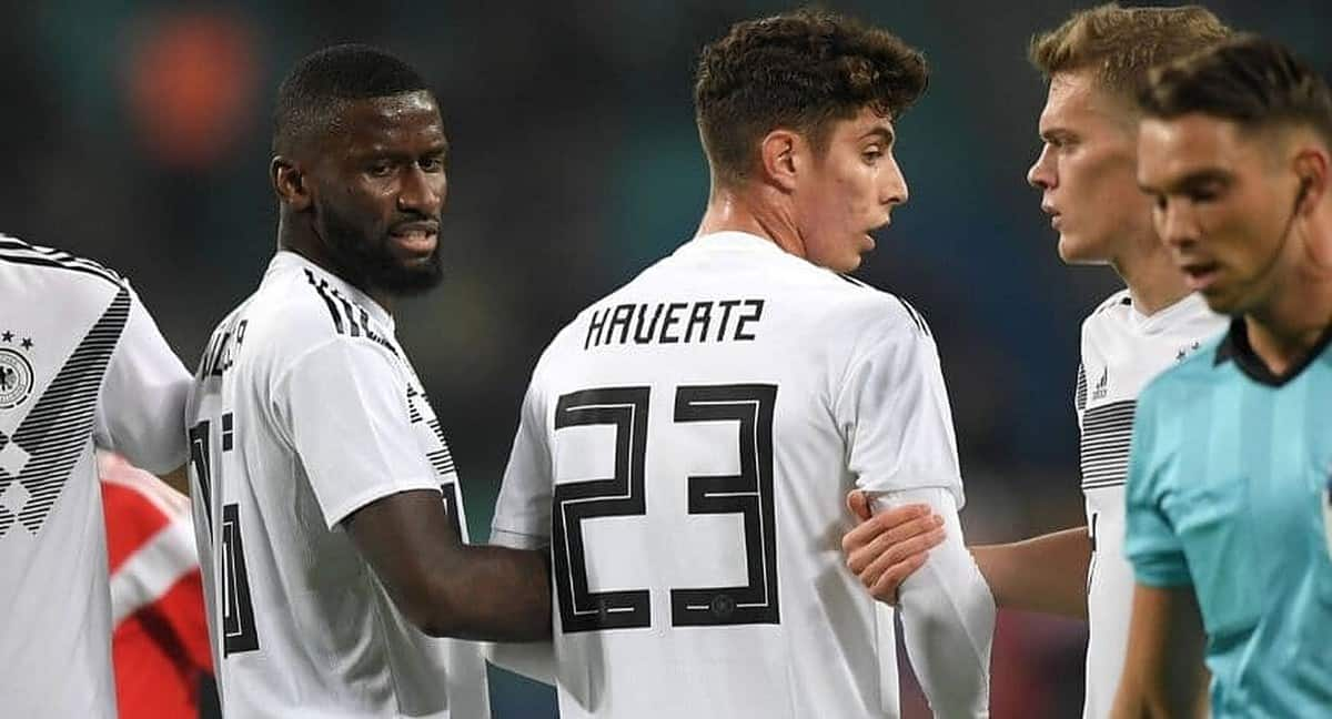 Antonio Rudiger with Kai Havertz playing for Germany
