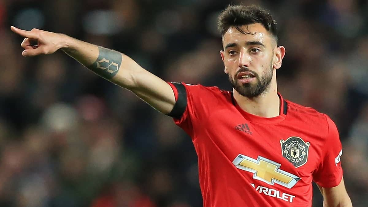 Bruno Fernandes during Manchester United's 3-0 win over Brighton