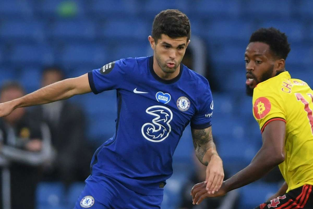 Christian Pulisic in action for Chelsea against Watford