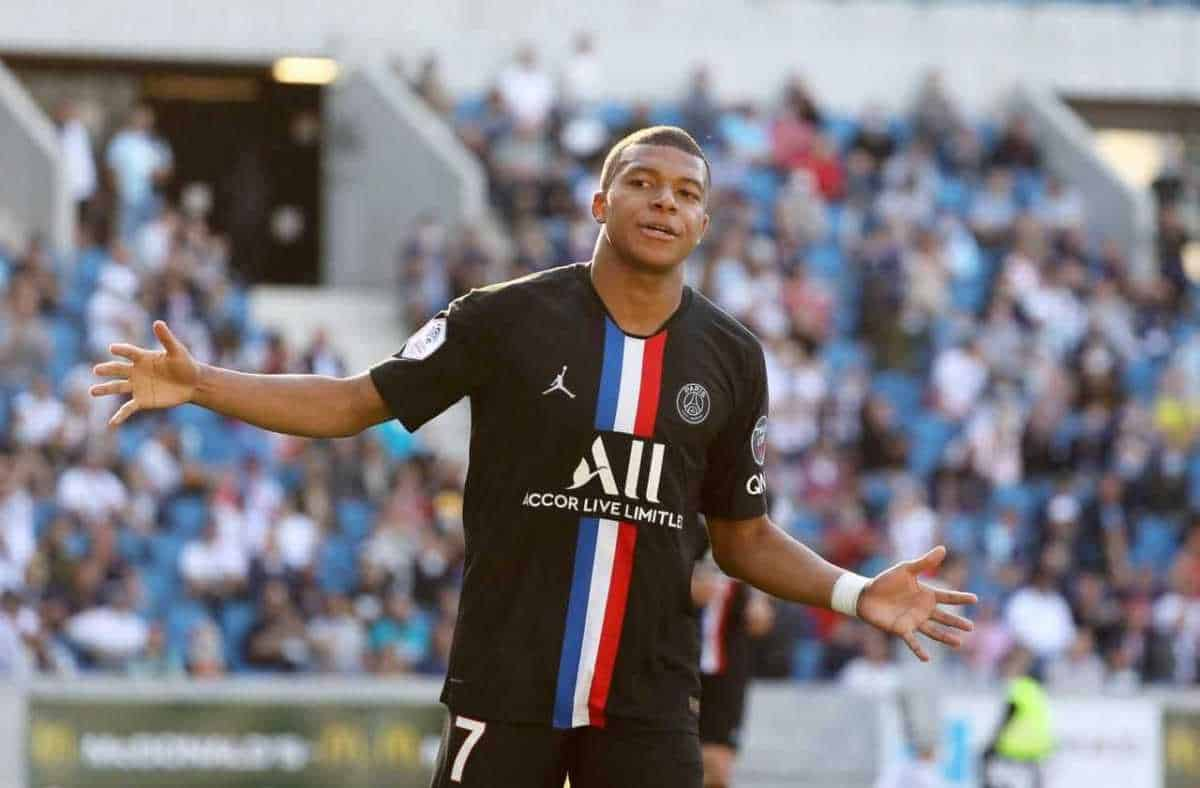 Kylian Mbappe in action for PSG against Le Havre