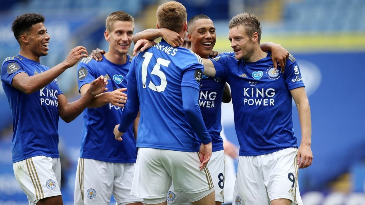 Leicester City celebrate goal against Arsenal