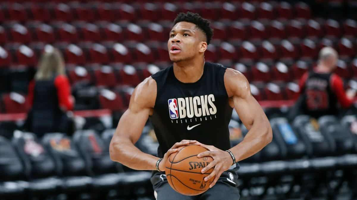 Giannis Antetokounmpo during training session with Bucks