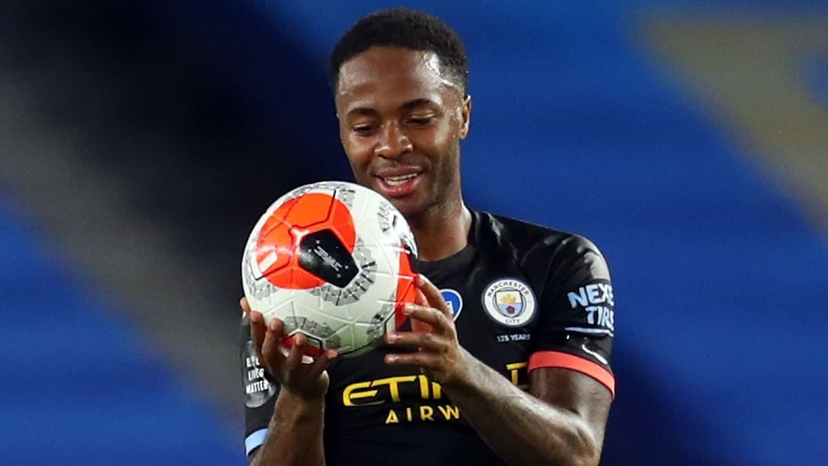 Raheem Sterling in action for Manchester City against Brighton