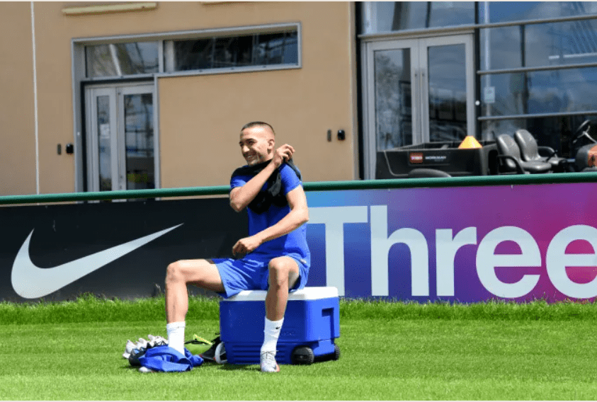 Hakim Ziyech trains with Chelsea