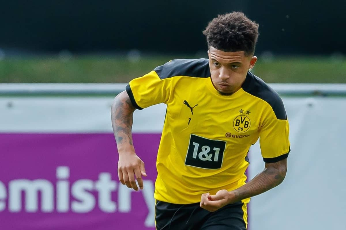 Jadon Sancho during Dortmund training