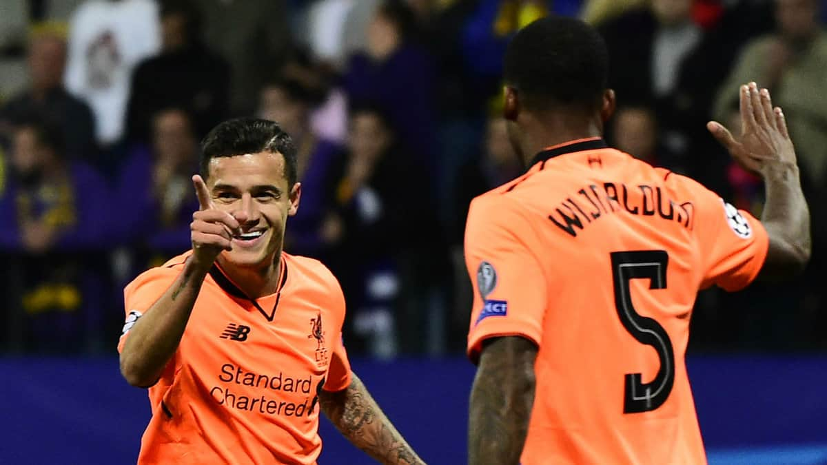 Philippe Coutinho and Gini Wijnaldum celebrate goal for Liverpool