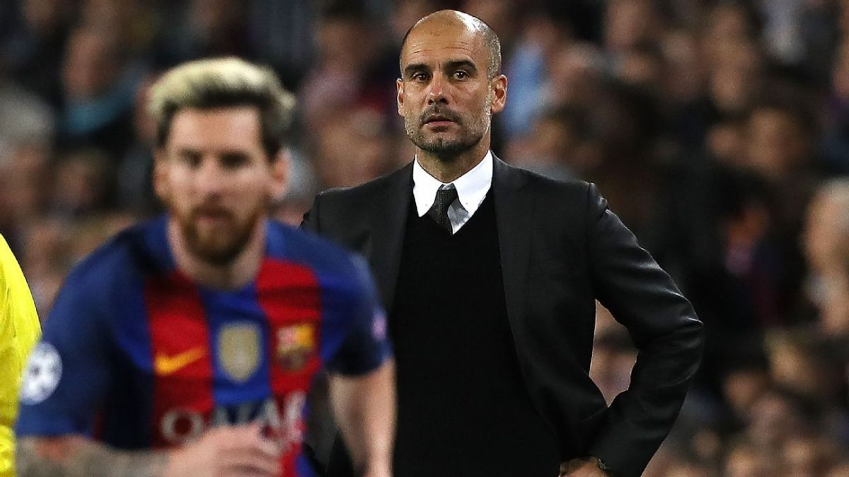 Pep Guardiola and Lionel Messi during UCL match