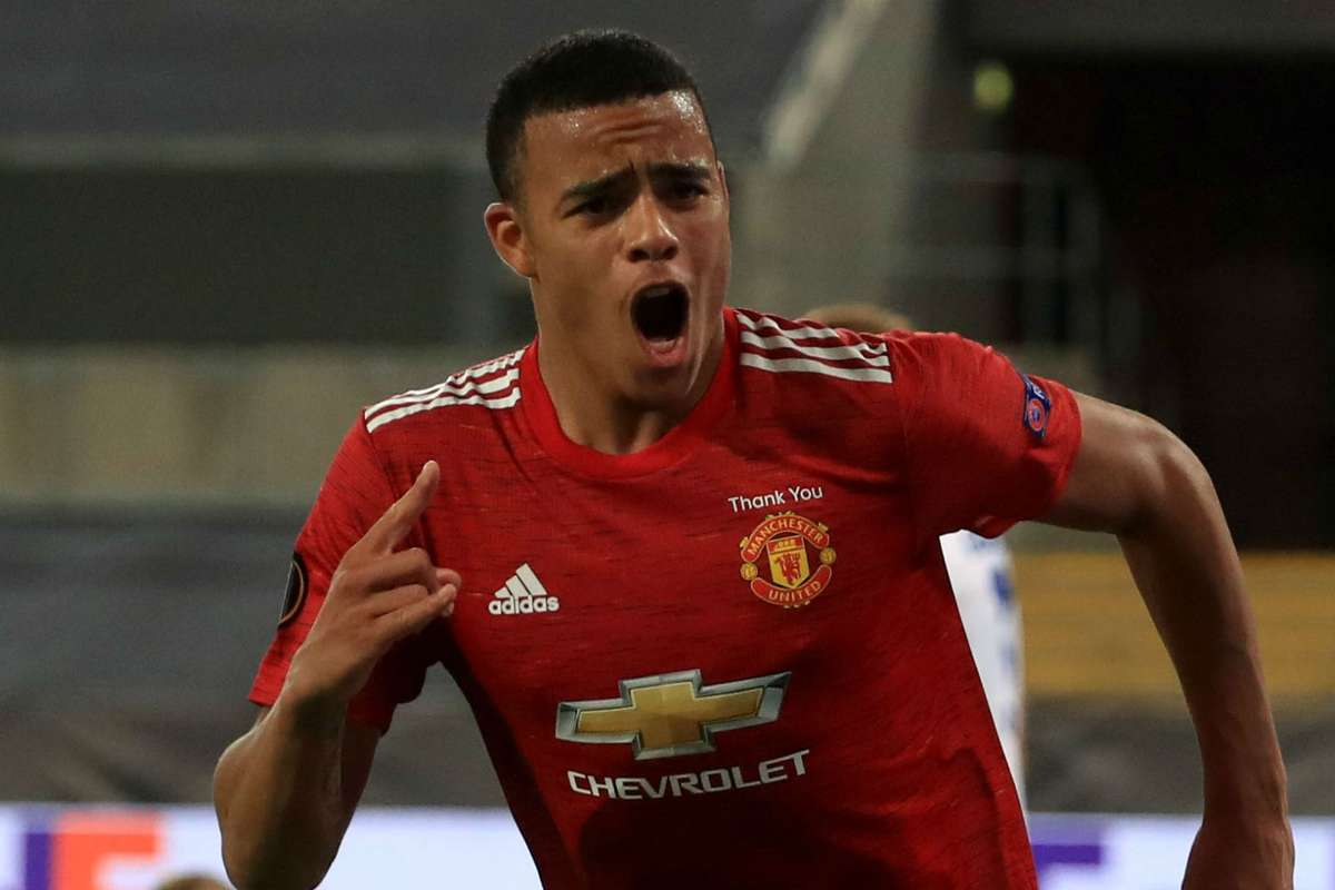 Mason Greenwood in action for United