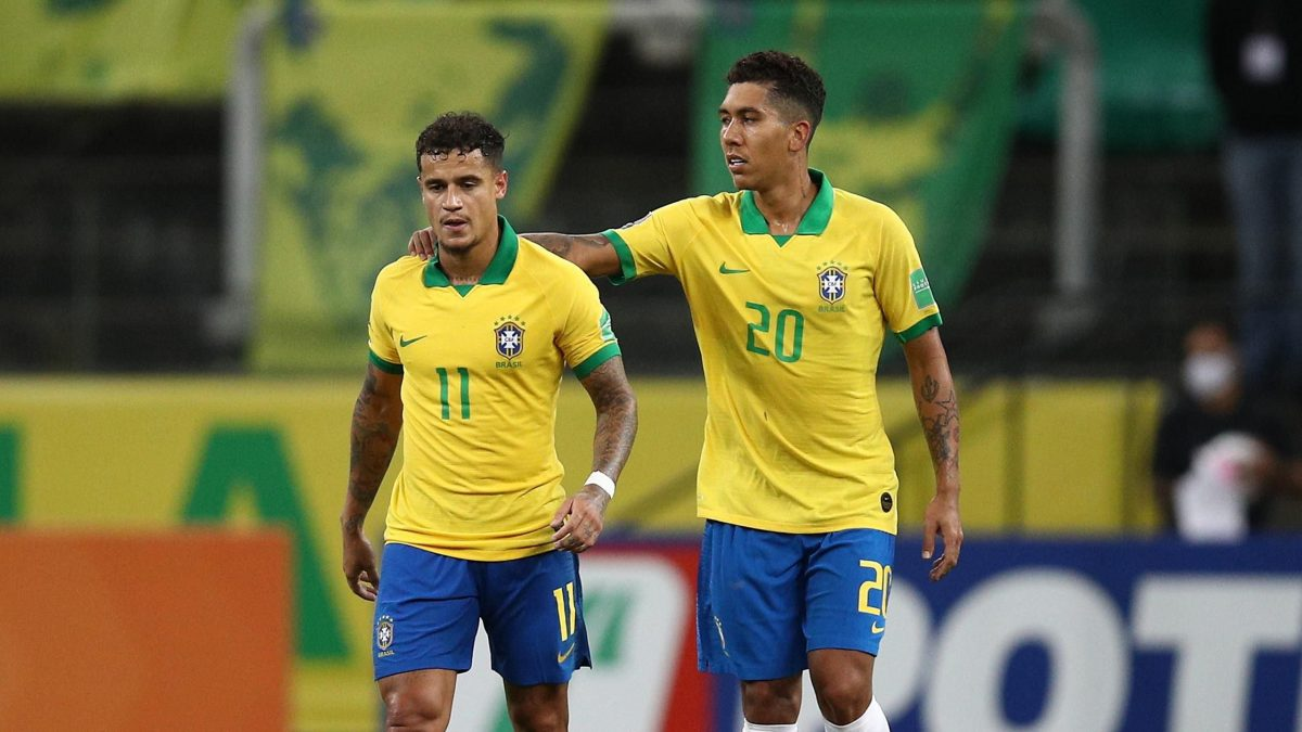 Roberto Firmino and Philippe Coutinho on international duty with Brazil