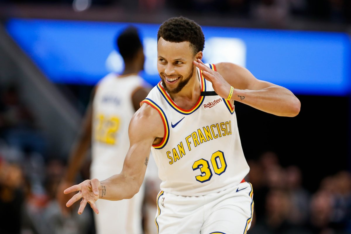 Golden State Warriors' Stephen Curry (30) celebrates after scoring a three-point-shot during the third quarter of his teams game versus the Toronto Raptors at Chase Center in San Francisco on Thursday, March 5, 2020.