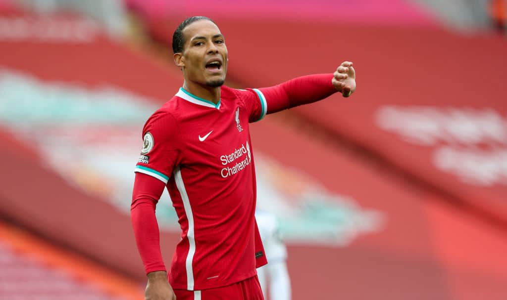Liverpool's Virgil van Dijk gestures during the Premier League match between Liverpool and Leeds United at Anfield on September 12, 2020 in Liverpool, United Kingdom.
