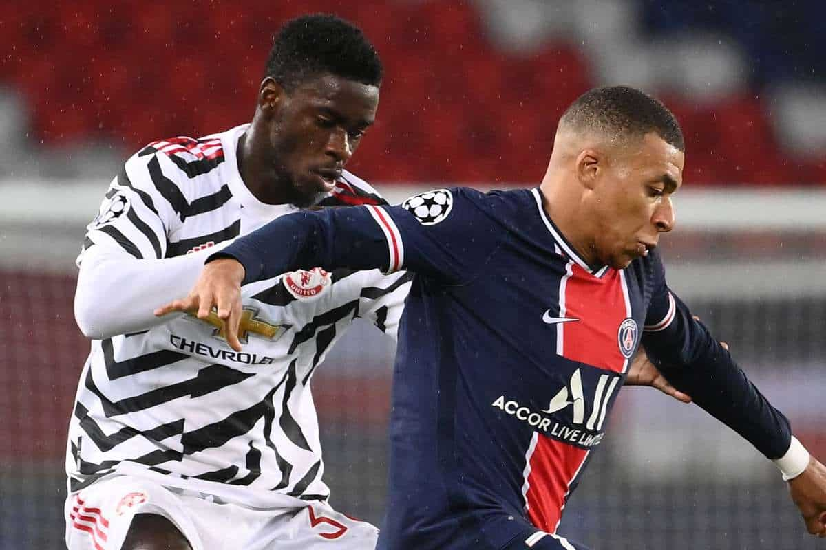 Axel Tuanzebe and Kylian Mbappe during Manchester United's 2-1 win over PSG in the Champions League on October 19,2020
