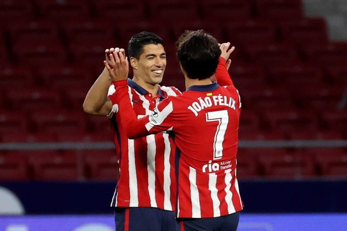 Atletico Madrid star Joao Felix celebrating goal with Luis Suarez