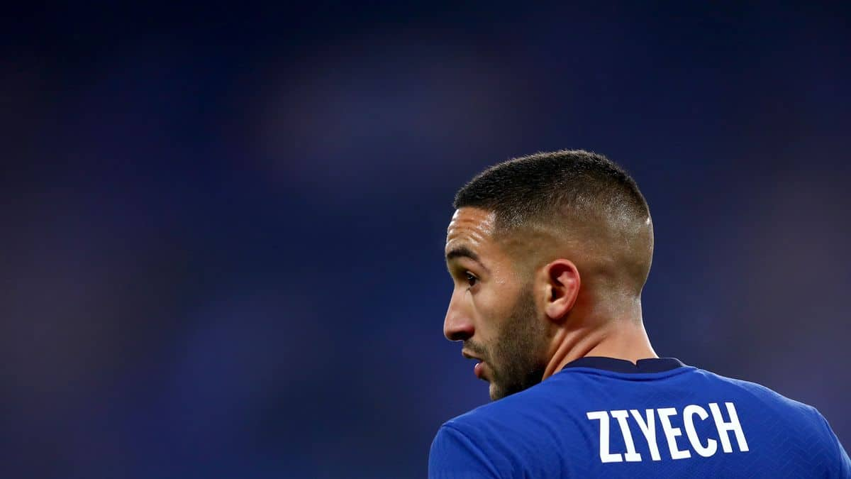 Hakim Ziyech in action for Chelsea