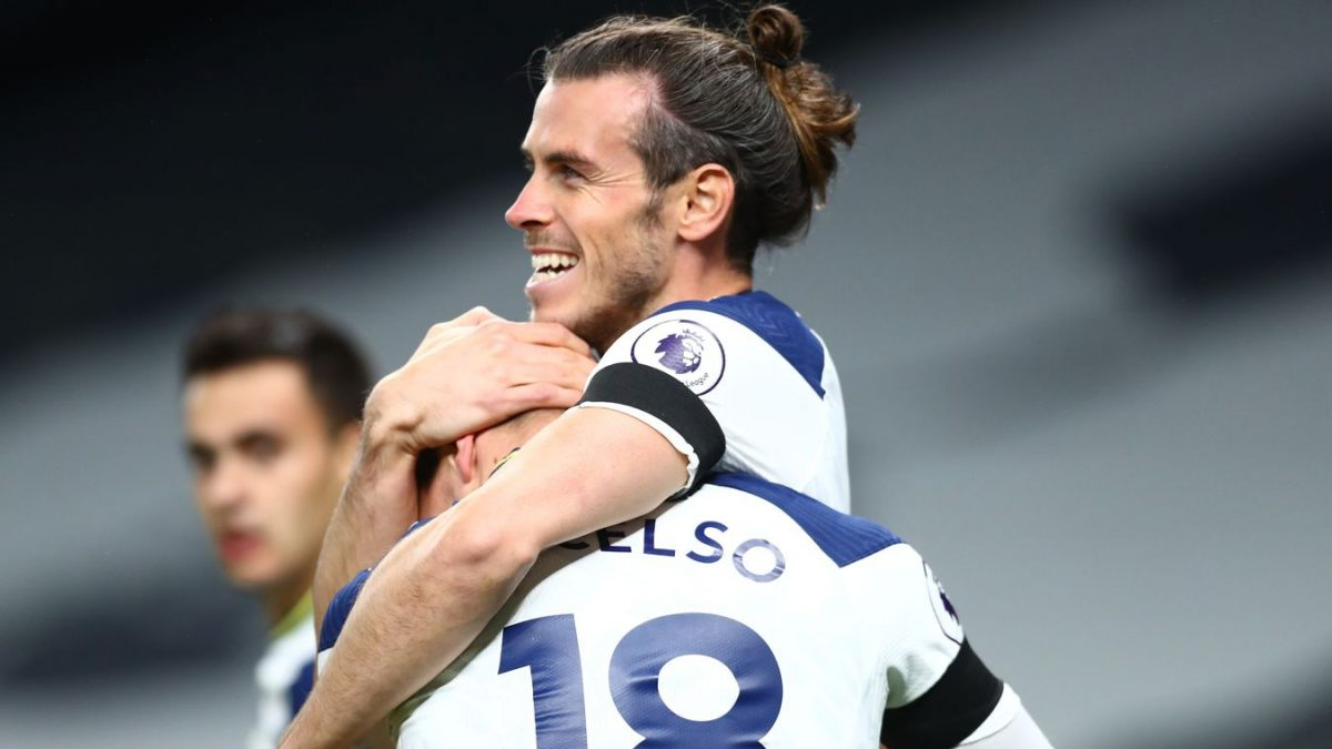 Gareth Bale is congratulated by his team-mates after restoring Spurs' lead