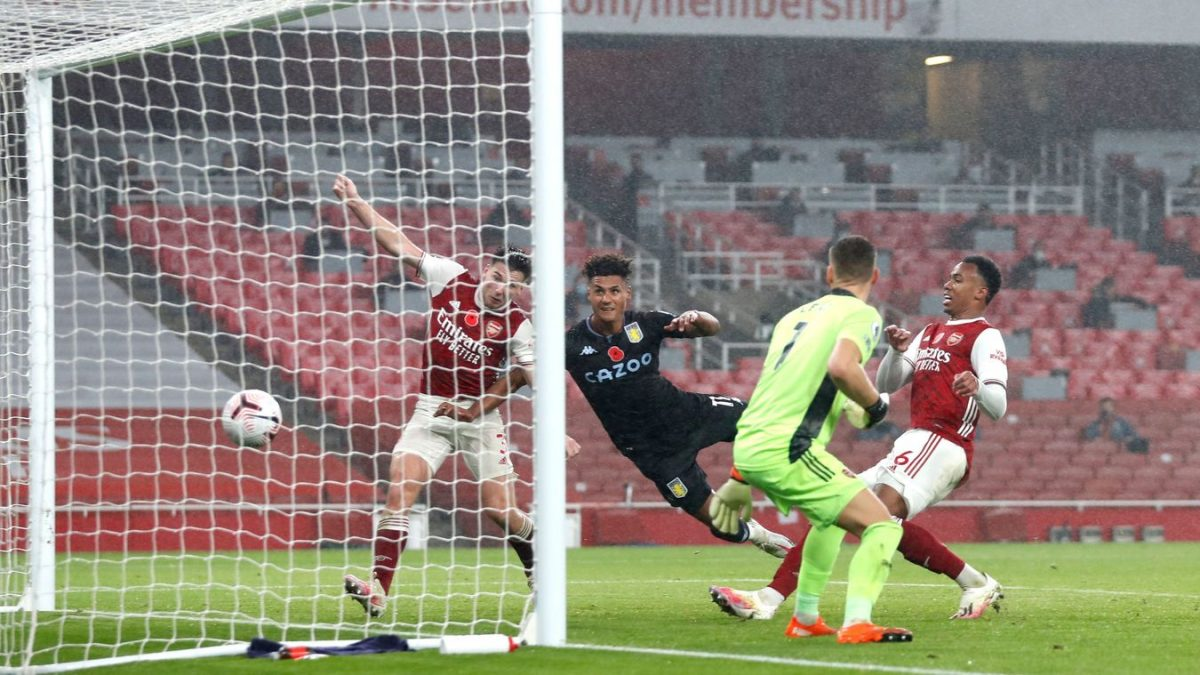Ollie Watkins gets on the end of Ross Barkley's cross for Aston Villa's second