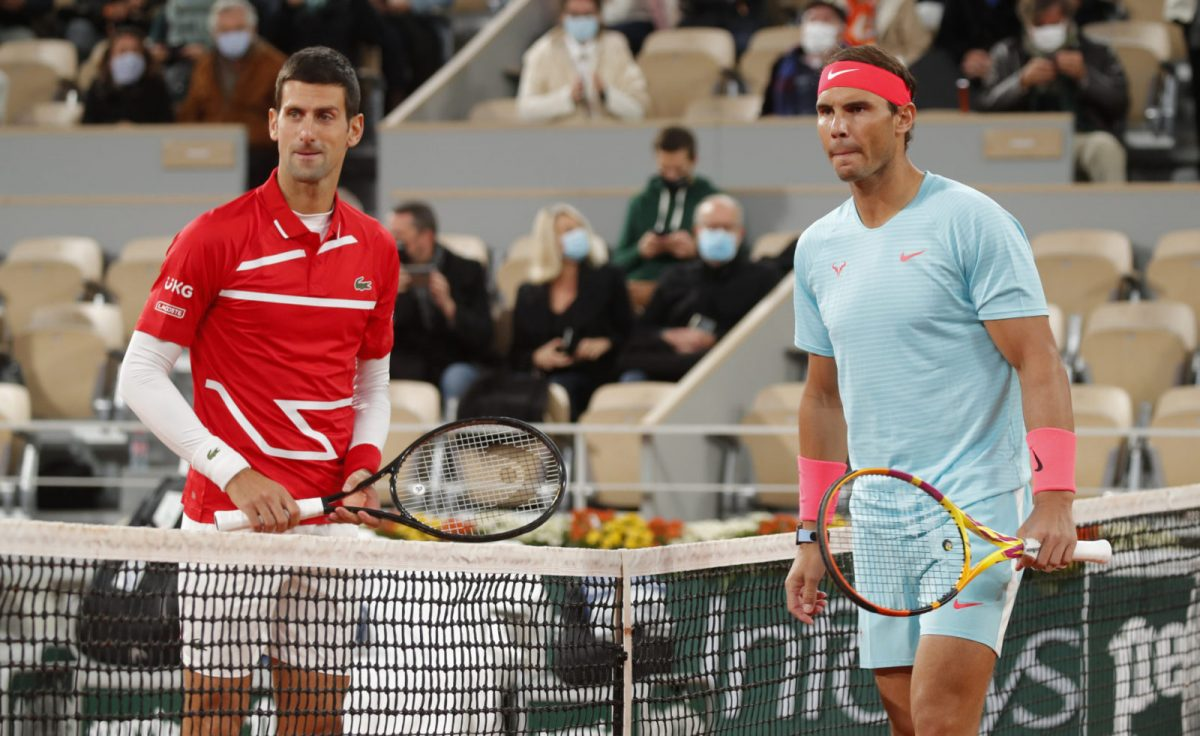 2020 Serbia's Novak Djokovic and Spain's Rafael Nadal on the court before the final