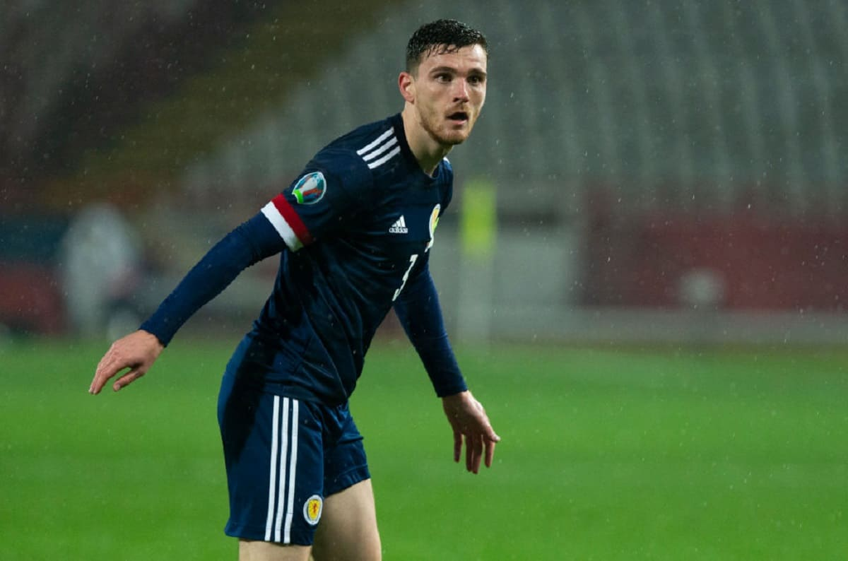 Andy Robertson in action for Scotland during the UEFA Euro 2020 Qualifier between Serbia and Scotland at the Stadion Rajko Mitic on November 12, 2020, in Belgrade, Serbia.
