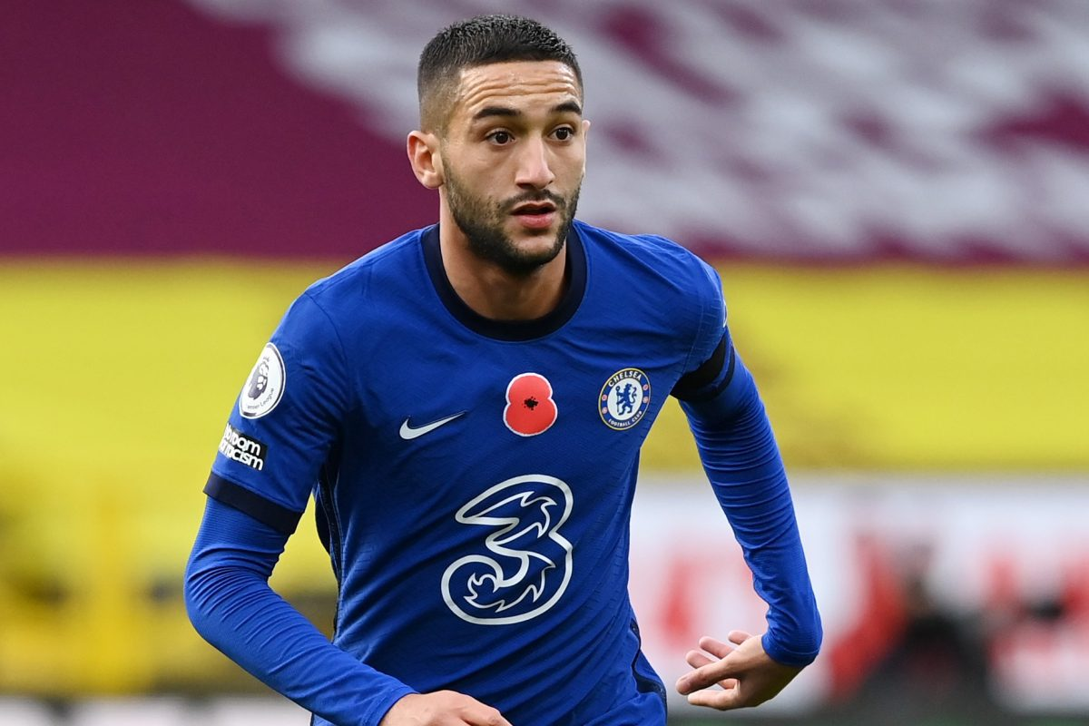 Hakim Ziyech of Chelsea in action during the Premier League match between Burnley and Chelsea at Turf Moor on October 31, 2020 in Burnley, England. Sporting stadiums around the UK remain under strict restrictions due to the Coronavirus Pandemic as Government social distancing laws prohibit fans inside venues resulting in games being played behind closed doors.