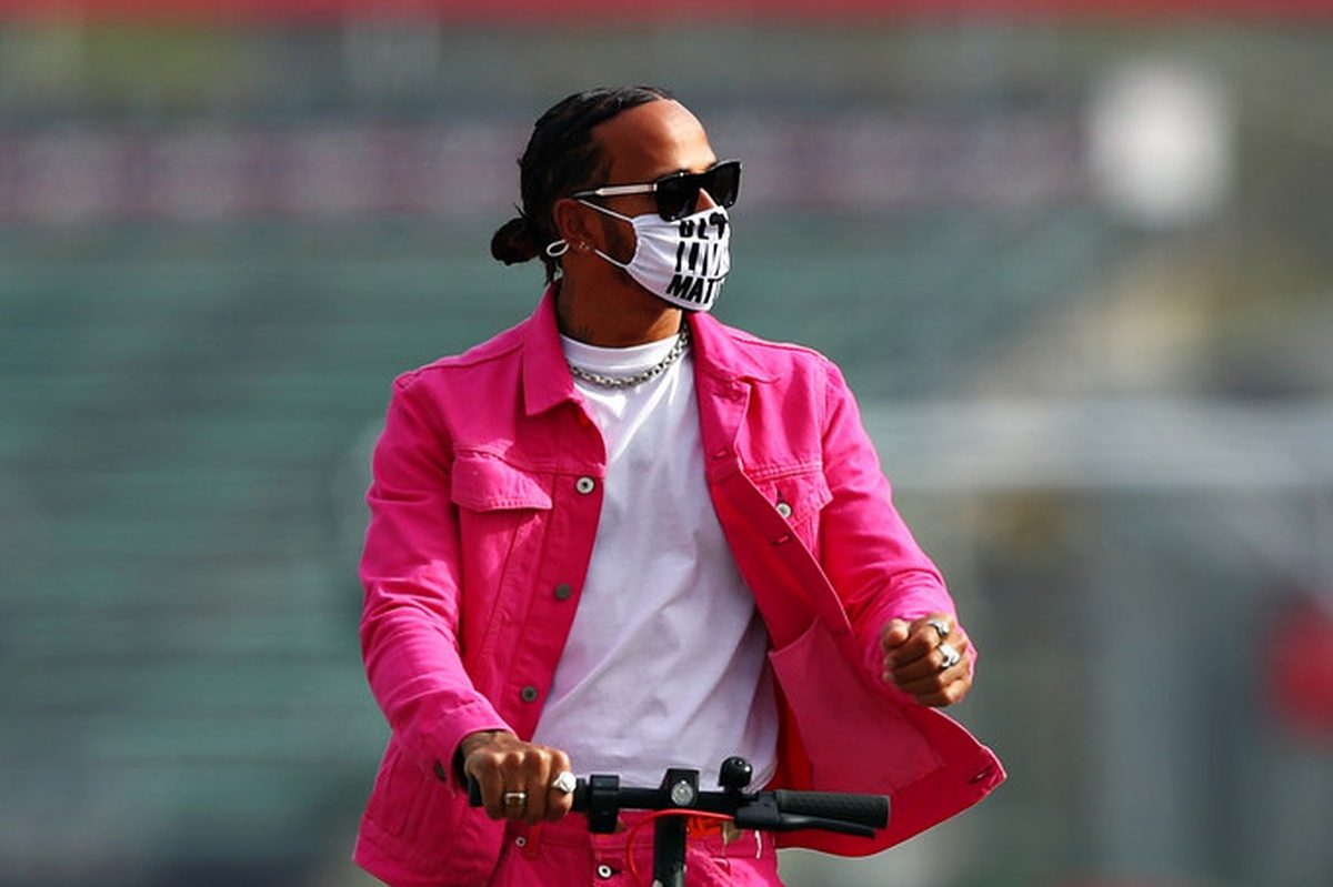 Lewis Hamilton of Great Britain and Mercedes GP rides a scooter round the circuit during previews ahead of the F1 Grand Prix of Emilia Romagna at Autodromo Enzo e Dino Ferrari on October 30, 2020 in Imola, Italy.