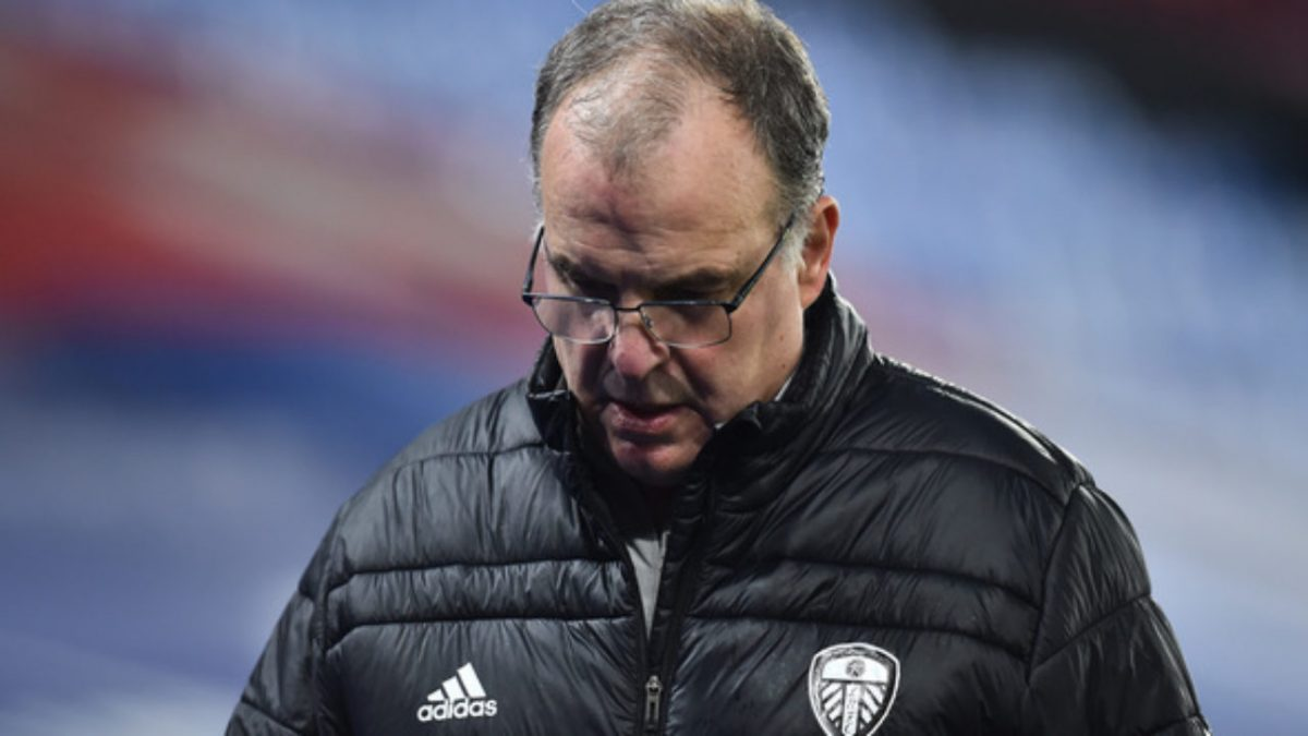 Marcelo Bielsa, Manager of Leeds United reacts at the fulltime whistle after the Premier League match between Crystal Palace and Leeds United at Selhurst Park on November 07, 2020 in London, England. Sporting stadiums around the UK remain under strict restrictions due to the Coronavirus Pandemic as Government social distancing laws prohibit fans inside venues resulting in games being played behind closed doors.