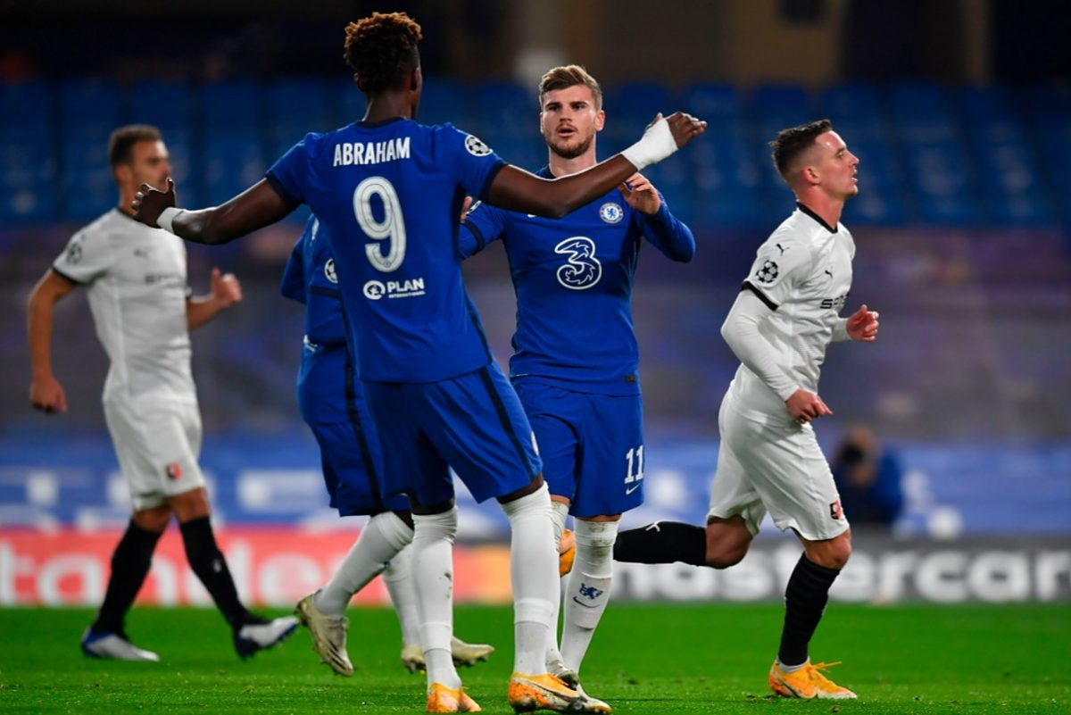 Timo Werner and Tammy Abraham celebrating goals for Chelsea