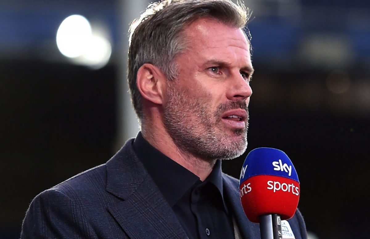Jamie Carragher speaks for Sky Sports after the Premier League match