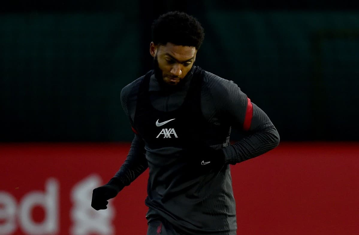 Joe Gomez of Liverpool during a training session at Melwood