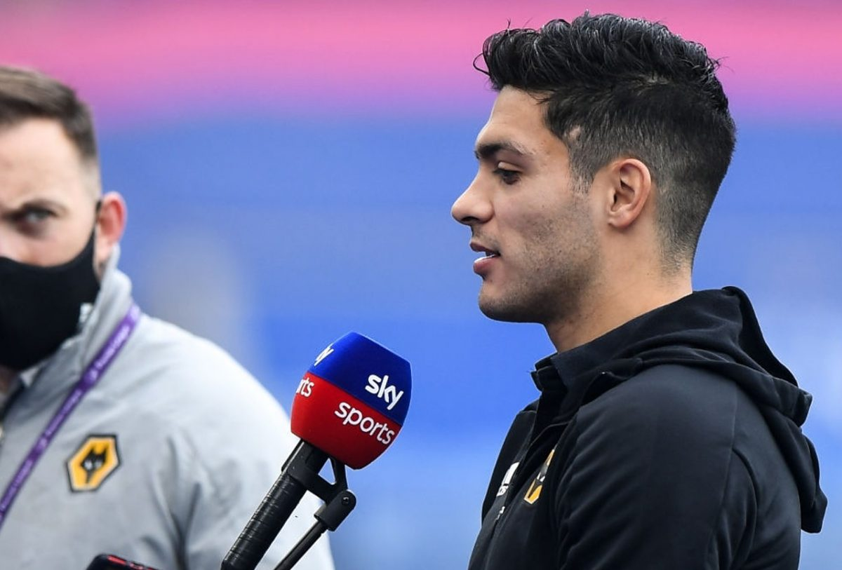 Raul Jimenez of Wolverhampton Wanderers takes part in a pre match interview