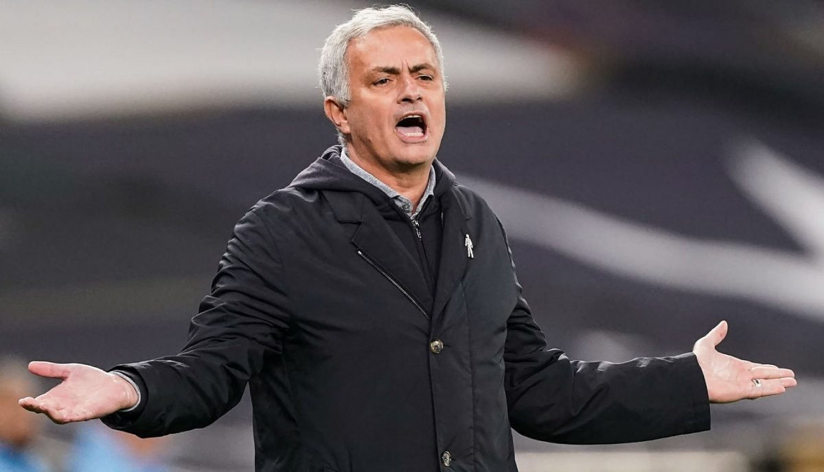 Jose Mourinho, manager of Tottenham Hospur reacts during the Premier League match between Tottenham Hotspur and Manchester City
