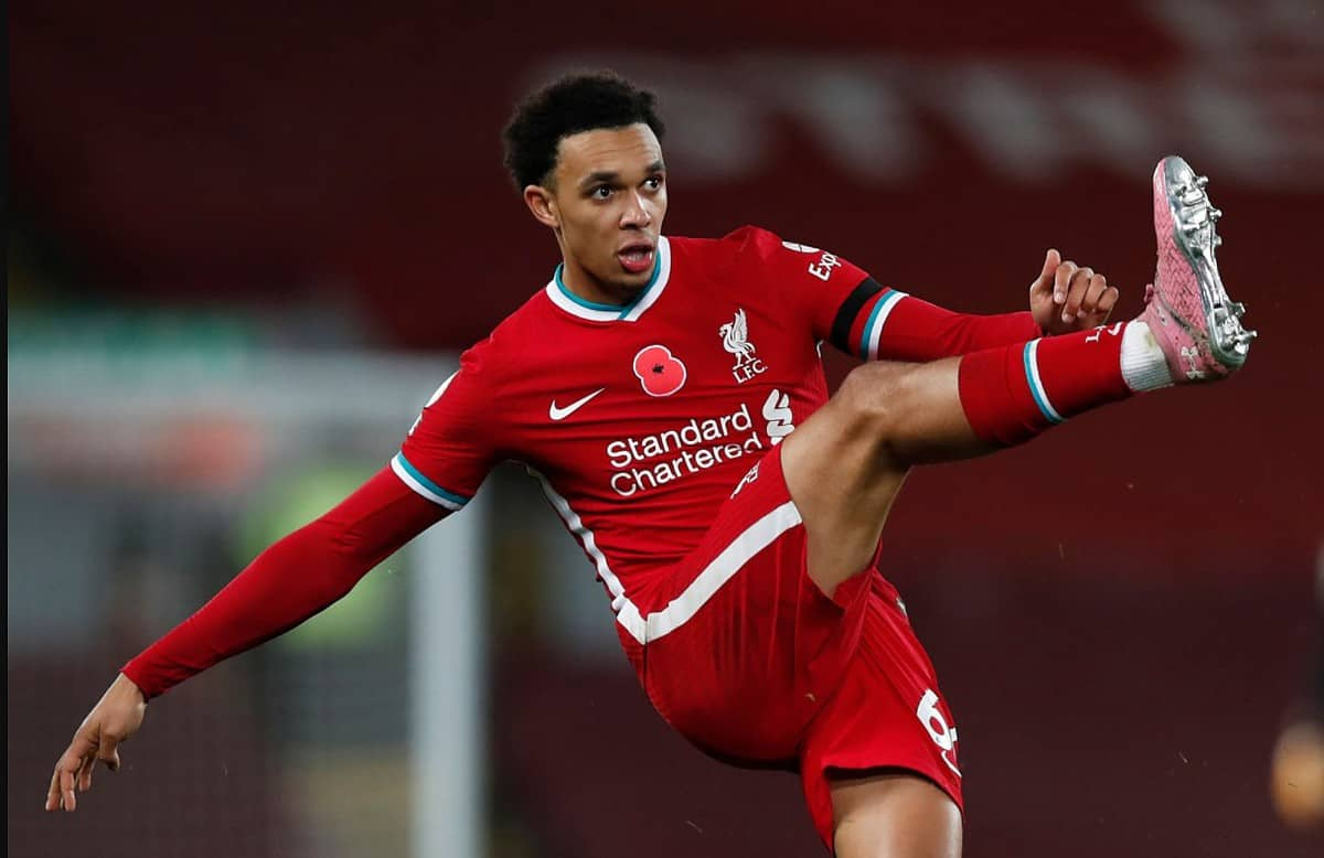 Trent Alexander-Arnold of Liverpool in action during the Premier League match