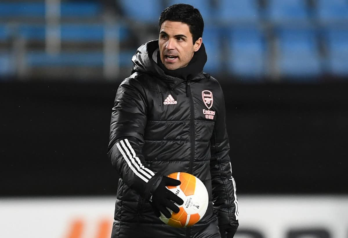 Mikel Arteta the Arsenal Manager during the Arsenal training session ahead of the UEFA Europa League Group B stage match between Arsenal FC and Molde FK