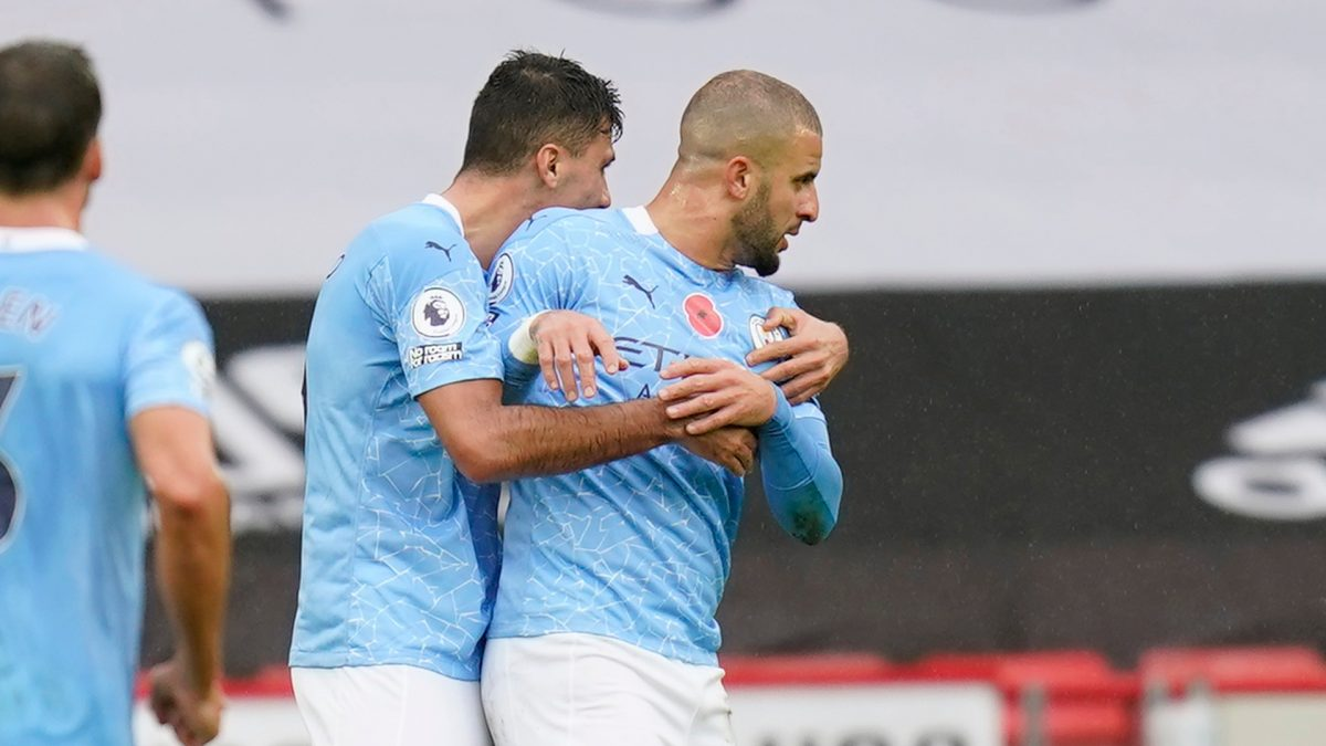 Kyle Walker celebrating his goal with Manchester City players against Sheffield United