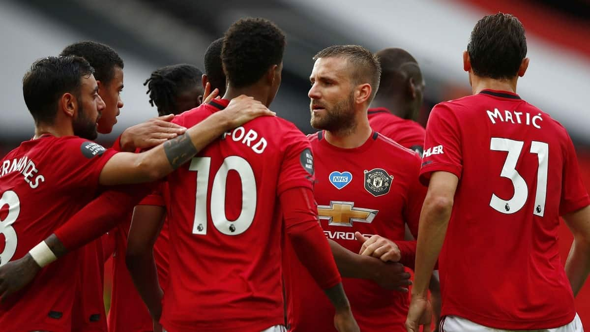 Manchester United celebrating a win