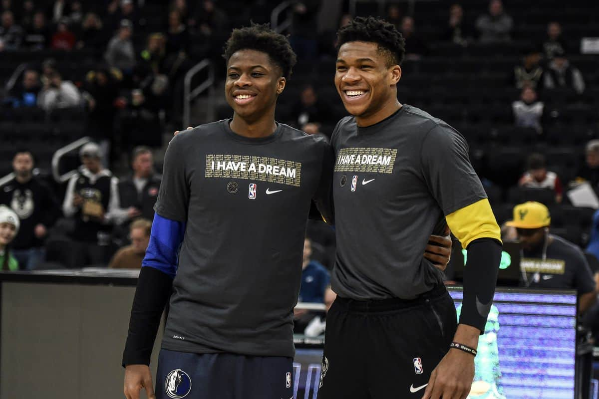 Giannis Antetokounmpo excitingly reacts to Lakers re-signing brother Kostas