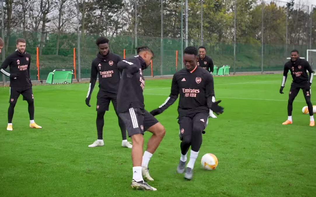 What happened between Reiss Nelson and Folarin Balogun in Arsenal training ahead of Rapid Wien