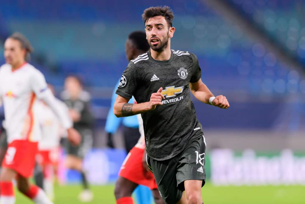 LEIPZIG, GERMANY - DECEMBER 08: (BILD ZEITUNG OUT) Bruno Fernandes of Manchester United looks on during the UEFA Champions League Group H stage match between RB Leipzig and Manchester United at Red Bull Arena on December 8, 2020 in Leipzig, Germany