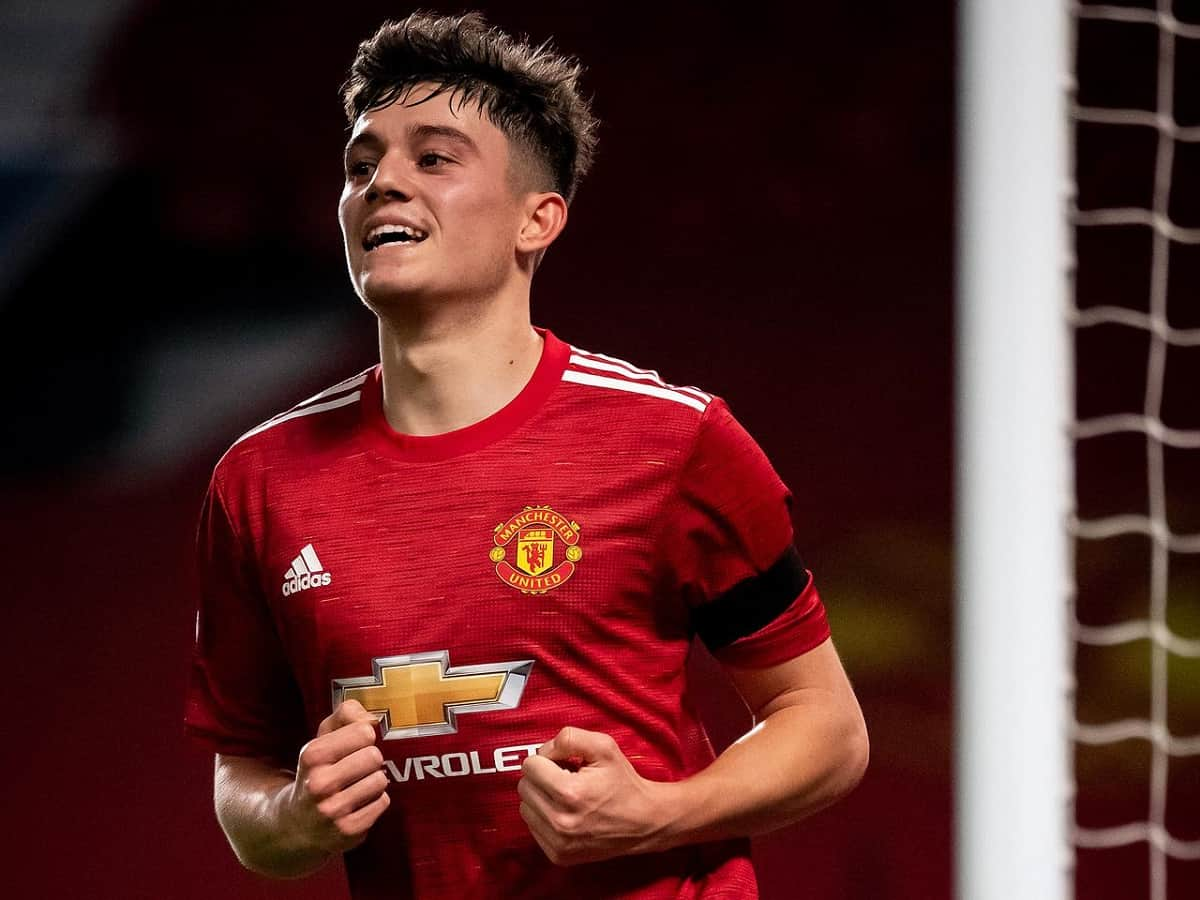 Daniel James of Manchester United celebrates scoring a goal to make the score 4-1 during the UEFA Champions League Group H stage match between Manchester United and Istanbul Basaksehir at Old Trafford on November 24, 2020 in Manchester, United Kingdom. Sporting stadiums around the UK remain under strict restrictions due to the Coronavirus Pandemic as Government social distancing laws prohibit fans inside venues resulting in games being played behind closed doors
