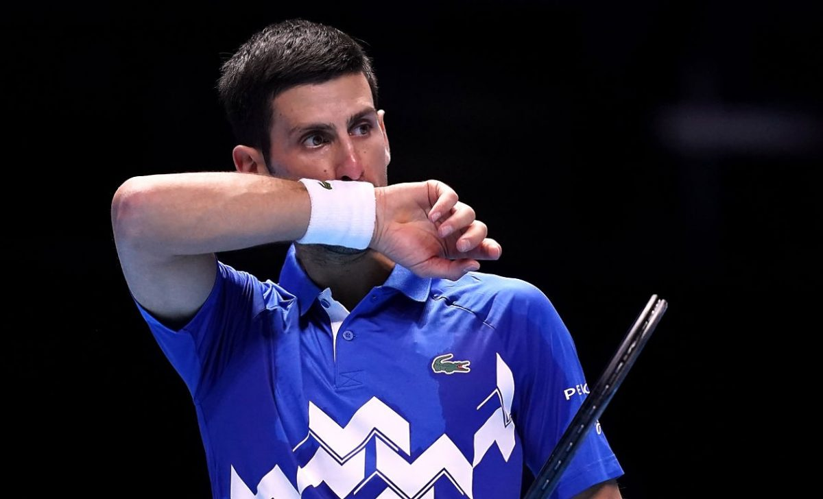 Novak Djokovic reacts during his match against Dominic Thiem d