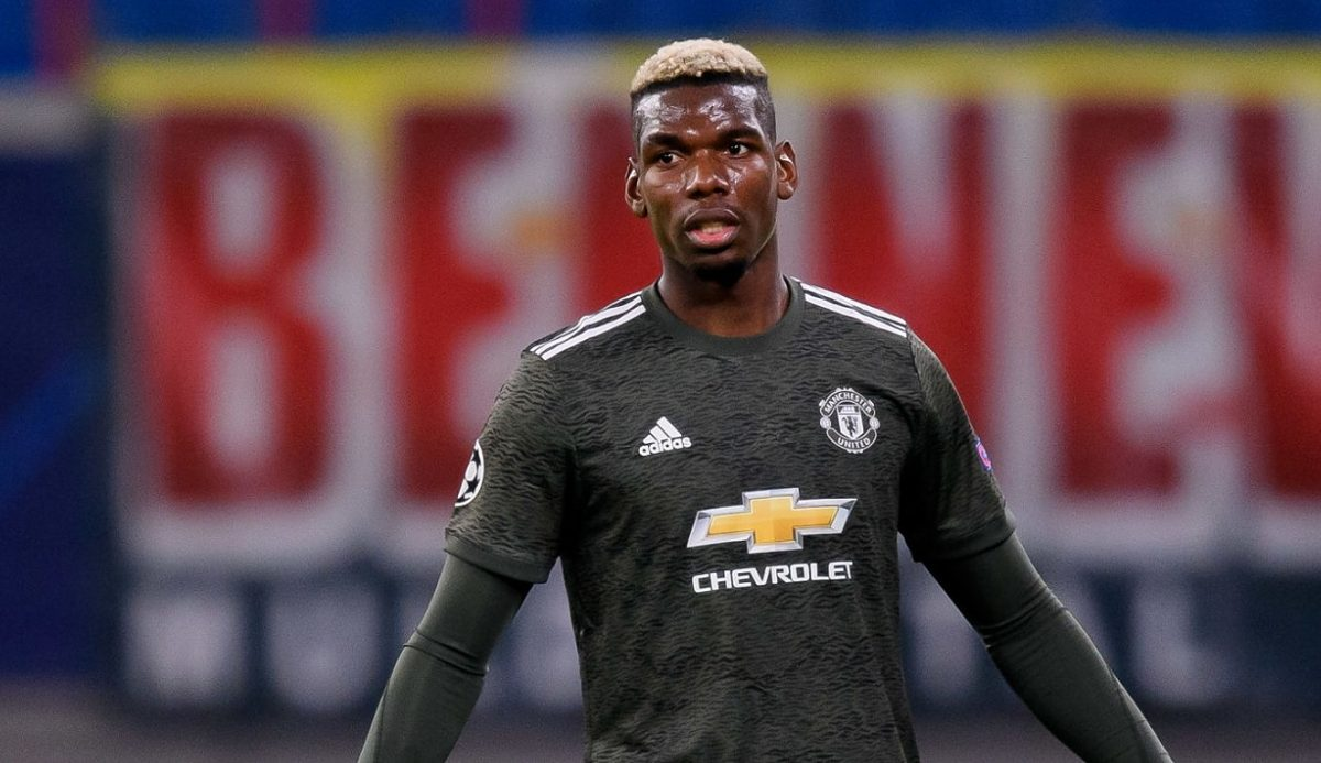 Paul Pogba of Manchester United looks on during the UEFA Champions League Group H stage match between RB Leipzig and Manchester United at Red Bull Arena on December 8, 2020 in Leipzig, Germany. (Photo by Mario Hommes/DeFodi Images via Getty Images)